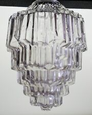 Vintage 5 Tiered Clear Glass Art Deco SkyScraper Pendant Light Lamp Shade