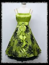 dress190 GREEN FLORAL FLOCK 50s ROCKABILLY SWING VINTAGE PROM COCKTAIL DRESS 16