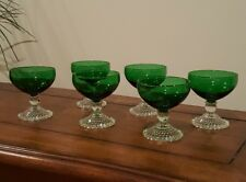 Set of 6 Forest Green Footed Dessert Bowls Custard Fruit Dishes