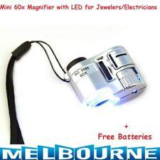 Mini 60X Microscope Portable Magnifier Magnifying Glass Eye Lens W/ LED Light BU