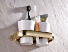 Gold Color Brass Wall Mount Bathroom Toothbrush Holders Dual Ceramic Cups mba846