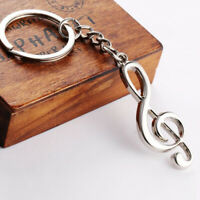 Creative 3D Music Cleff Note Silver Steel Plated Key Chain Ring Keychain Gift