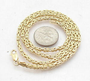 """18"""" Square Byzantine Chain Necklace with Lobster Clasp Real 10K Yellow Gold"""