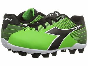 Diadora Ladro MD JR Soccer Cleats Lime Green / Black Toddler Kids Youth Sizes