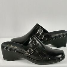 Clarks Womens Slip On Slides Clogs Mules Size 5.5 M Black Leather Comfort