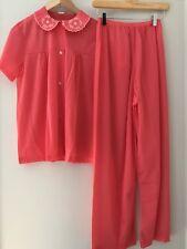 NEW! Vintage 1960s 50s 2 piece PAJAMAS Nylon Pink Embroidery Trim NOS Sz 34