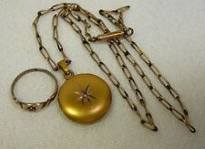 Vintage Jewelry Lot 10K Locket Pendant Baby Ring Gold Filled Chain Antique Child