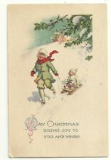 Christmas Greetings Girl Baby Sled Red Scarf   Postcard Antique