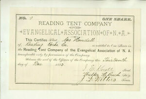 1880 READING TENT COMPANY OF EVANGELICAL ASSOCIATION OF N.A. STOCK CERTIFICATE