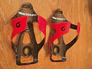 Pair Red Blackburn Camber carbon fiber water bottle cages road mountain bike