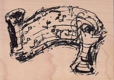 fancy music staff art impressions Wood Mounted Rubber Stamp 3 1/2 x 5