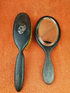 "Antique Ebony Bevelled Mirror & Brush Silver ""F"" C1900"