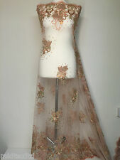 Vintage Floral embellished and stones dress net with scalloped edging M232 Mtex