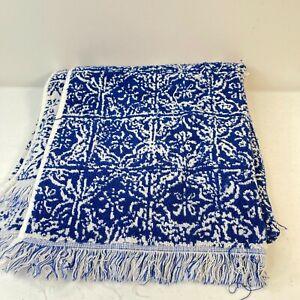 target bath towel blue floral paisley fringe cotton boho 24x50