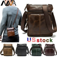 MVA Mens Genuine Leather Business Small Shoulder Bag Messenger Crossbody Bag US