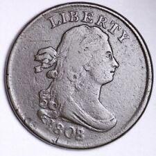 1808/7 Draped Bust Half Cent CHOICE FINE+/VF FREE SHIPPING E114 RHM