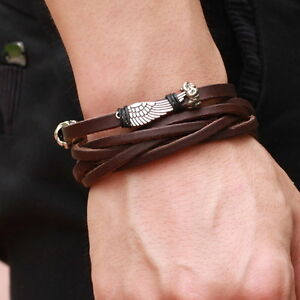 Mens Angel Wing Brown Genuine Leather String Wristband Bracelet Brozen Surfer