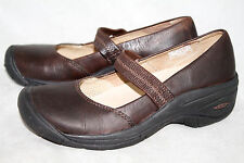 KEEN HS0508 Wo's 7.5 Dark Brown Leather Stretch Band Mary Janes