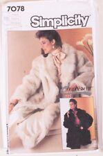 Vintage Simplicity 7078 Connoisseur Collection Fur Faux Fur Coat Jacket Pattern