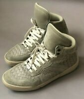 Bottega Veneta Men's Leather Intrecciato High Top Sneakers Fume/Beige 41/8 $750