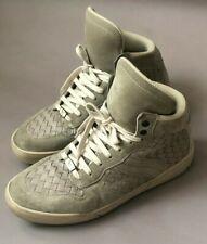 Bottega Veneta Men's Leather Intrecciato High Top Sneakers Fume/Beige 41/8 $750