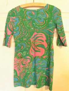 Lilly Pulitzer Cotton Dress Pink Green Blue Large 8 - 10