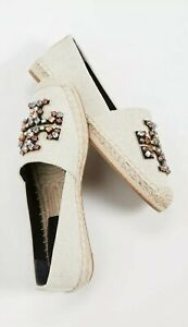 TORY BURCH Ines Embellished Espadrilles Natural Linen/Leather Sz 8 New With Box