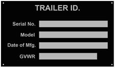 Aluminum Trailer ID Tag Vin Plate Serial GVWR Medical Blank New Free Ship USA