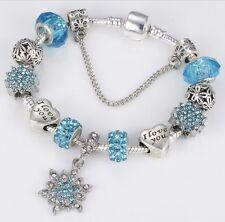 I Love You Silver Snowflake Bracelet Charm Sliding Beads Bells Blue Crystal BN