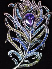 TEAL GREEN PURPLE RHINESTONE PLUME BIRD PEACOCK FEATHER PIN BROOCH JEWELRY 2.5""