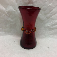 Vintage Ruby Red Glass Vase Hand Blown