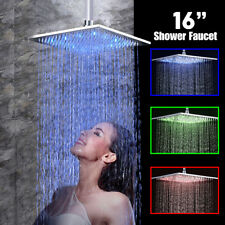 16'' LED Chrome Square Rain Shower Head Wall Ceiling Mount Shower Sprayer Brass
