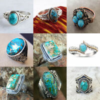 Women Turquoise Opal Fashion 925 Silver Ring Bridal Men's Wedding Engagement