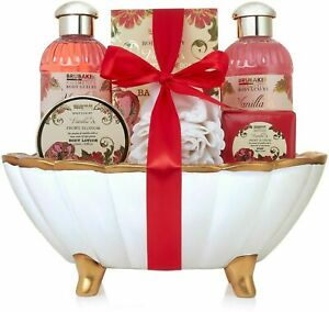 BRUBAKER Peony Vanilla Ceramic Bath Tub Womens Gift Set for Her Ladies Women