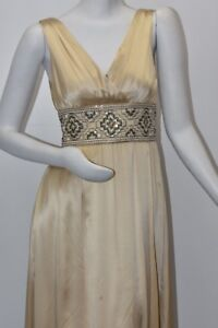New Marc Bouwer Glamiti Champagne Beige Silk Gown Dress Embellished Gold 2