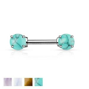 Semi Precious Stone Prong Set Ends Nipple Bar With 316L Surgical Steel Barbell