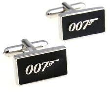 JAMES BOND 007 Silvertone/Black Enamel CUFFLINKS