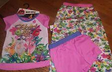 Girls Size 4/5 ANGRY BIRDS 3-Pc Slepwear Set, Short Sleeve, Shorts, Pants nwt