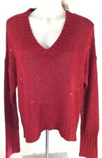 MUDD Juniors 2X Red Solid Sparkle Sequins  Long Sleeve Sweater Plus NEW