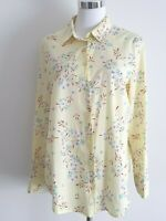 United Colors of Benetton Yellow Floral Button Down Long Sleeve Shirt Size 14