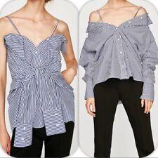 ZARA Multiwear Blouse 3 In 1 Blue/White Stripes Size Large