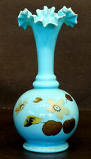1800's Antique Vintage Opalescent Blue Bristol Glass Victorian Ruffled Vase