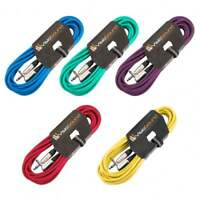 """5 x Guitar Lead 6.35mm 1/4"""" Mono Jack to Angled Jack / Instrument Cable / 5 Pack"""
