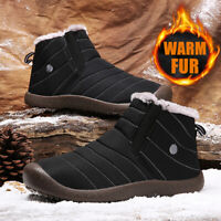 Men's Winter Snow Boots Outdoor Warm Fur Lined Anti-Slip Walking Ankle Shoes