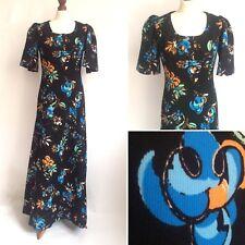 Vintage 1960s Black Orange Maxi Dress Short Sleeves Thick Textured Size 10 12