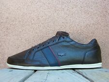 LACOSTE Mens Casual Soft Brown Leather Tennis Sneaker Sport Shoes Size 8.5M