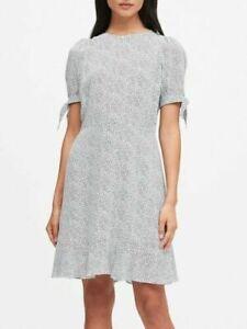 NWT Banana Republic ECOVERO™ Puff-Sleeve Dress White Dot Sz 6T