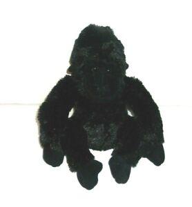 "Aurora Plush Black Gorilla Realistic 10"" Stuffed Animal Toy Bean Bag"