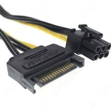 15Pin SATA Power to 6Pin  PCI-E PCI Express Adapter Cable Video Card 18.5cm UK
