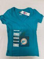 NFL Miami Dolphins Women's Vintage Short Sleeve Triple Peak Crew Neck Tee Medium